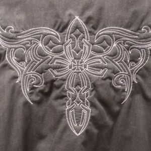 none Shirts & Tops - Sk kids sz XL 14-16 gray western embroidered shirt
